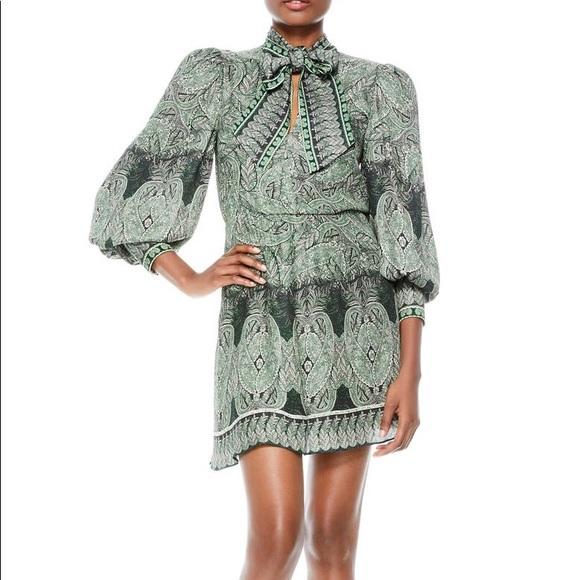 Tanisha Paisley Tie Neck Long Sleeve Dress